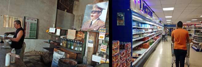 1. Tienda estatal donde compra el cubano de forma racionada una vez al mes. 2. Tienda donde compran los extranjeros y cubanos con acceso a divisas.